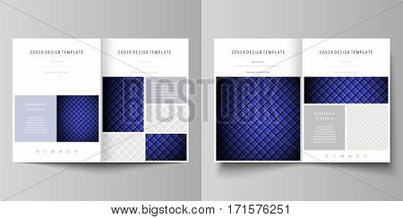 Business templates for bi fold brochure, magazine, flyer, booklet or annual report. Cover design template, easy editable vector, abstract flat layout in A4 size. Shiny fabric, rippled texture, white and blue color silk, colorful vintage style background.