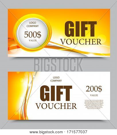 Gift company voucher template on five and two hundred dollars with gray circle and bright orange wavy lines pattern. Vector illustration