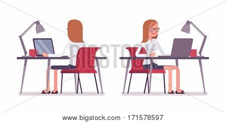 Young happy female clerk sitting at the desk, working at the laptop, looking at screen, rear and front view, comfortable workspace, modern office, effective employee, isolated against white background