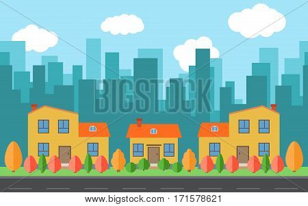 Vector city with cartoon houses and buildings with red yellow and green trees and shrubs. City space with road on flat style background concept. Summer urban landscape. Street view with cityscape on a background