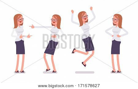 Set of young happy female clerk in formal wear, skirt, showing positive emotions, successful worker, jumping with joy, pointing and laughing, full length, front view isolated against white background