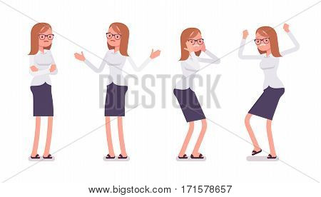 Set of young unhappy female clerk in formal wear, showing negative emotions, puzzled worker, troubled with deadline, crossed hands, stamping feet, full length, isolated against white background