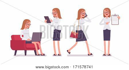Office scene with busy young happy female clerk, talking on phone, walking, pointing to the clipboard, sitting with laptop, standing with tablet, full length, isolated against white background