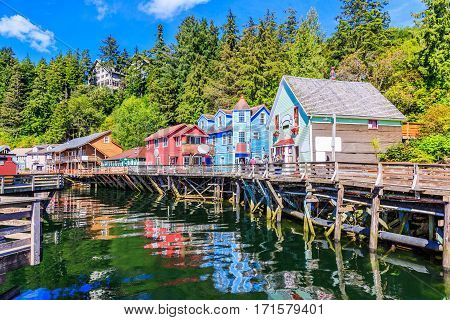 Ketchikan Alaska. Creek Street the historic broadwalk.