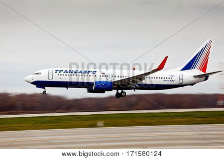 Moscow, Russia - October, 2012: Transaero aircraft company at the international airport Sheremetyevo