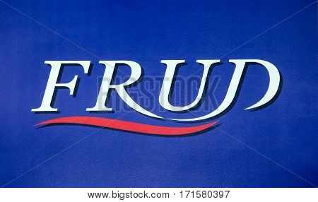 Moscow, Russia - February, 2016: Frud sanitary engineering company logo. Printed sticker letters