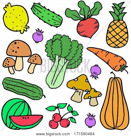 Illustration of vegetable colorful doodle set collection stock