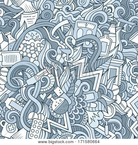 Cartoon cute doodles hand drawn Medical seamless pattern. Line art detailed, with lots of objects background. Endless funny vector illustration. Contour backdrop