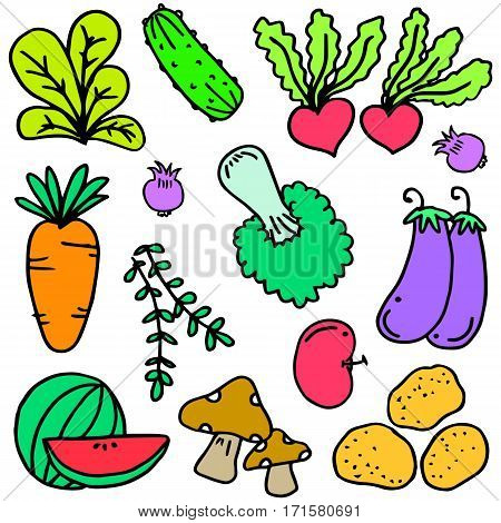Vector illustration vegetable doodle set collection stock