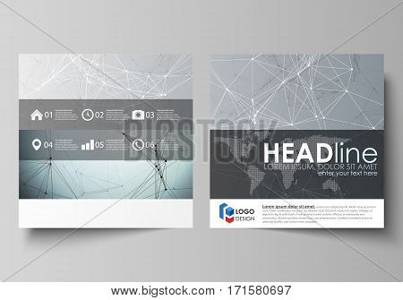 Business templates for square design brochure, magazine, flyer, booklet or annual report. Leaflet cover, abstract flat layout, easy editable vector. Chemistry pattern, connecting lines and dots, molecule structure, scientific medical DNA research.