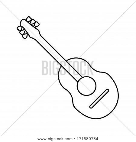 guitar traditional acoustic music thin line vector illustration eps 10
