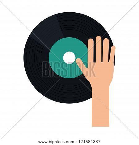 hand dj playing vinyl vector illustration eps 10