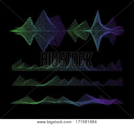 Vector Sound equalizer, colorful musical concept. Audio wave digital design waveform.