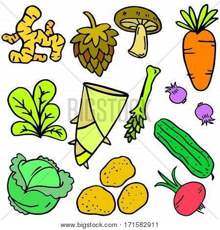 Collection of vegetable set doodles collection stock