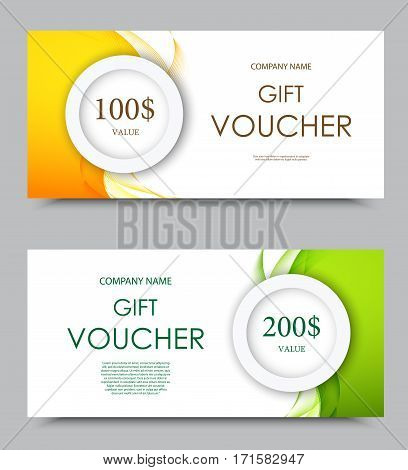 Gift company voucher template on one and two hundred dollars with green and orange light wavy curved patterns. Vector illustration