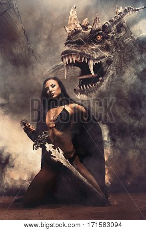 Fantasy Sexy Girl with Dragon in smoke