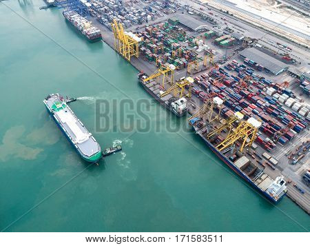 arial view container ship in import export and business logistic