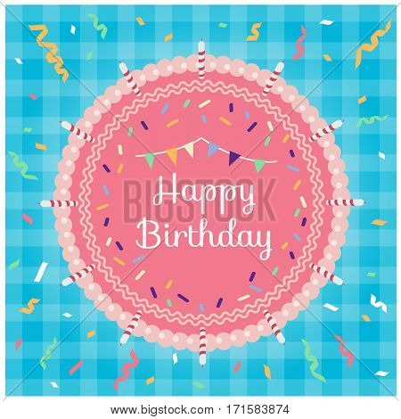Happy birthday - Top view pink cake and ribbon party on blue fabric background vector design