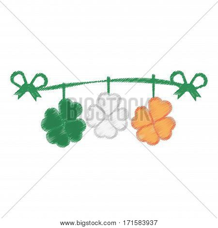 drawing st patricks day clover pennant decorative vector illustration eps 10