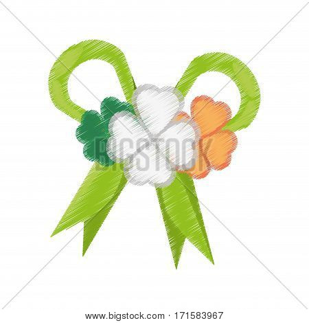 drawing st patricks day decoration clover bow vector illustration eps 10