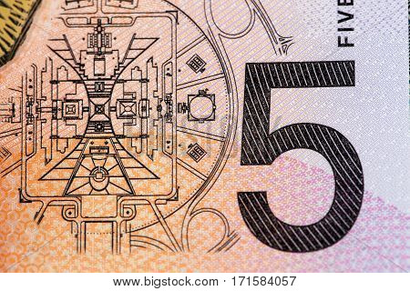 Australian 5 Dollar Bill Fragment Closeup Showing The Parliament House In Canberra.