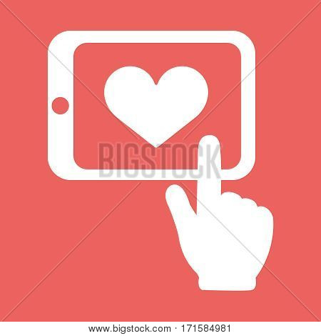 Hands holding tablet with heart sign vector flat white icon isolated on red background. Hand drawn. EPS10 illustration.