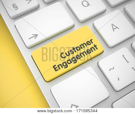 Modern Keyboard Button Showing the Inscription Customer Engagement. Message on Keyboard Yellow Keypad. Text on Keyboard Enter Button, for Customer Engagement Concept. 3D Illustration.