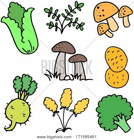 Illustration of fresh vegetables doodles collection stock