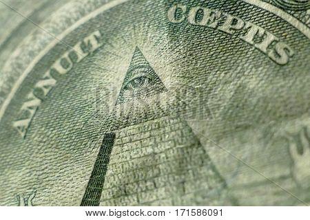 Part Of One Dollar Bill Macro Shot