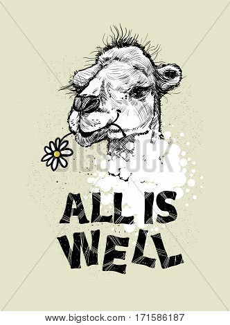 Drawing the head of a camel and the letter.All is well, vector illustration. Print for textiles, motivation EPS10