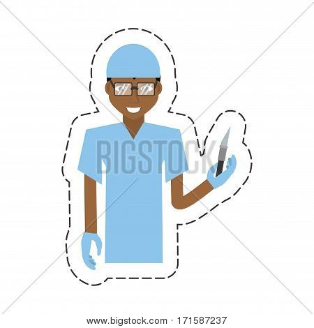 cartoon afro american man surgeon  scalpel vector illustration eps 10