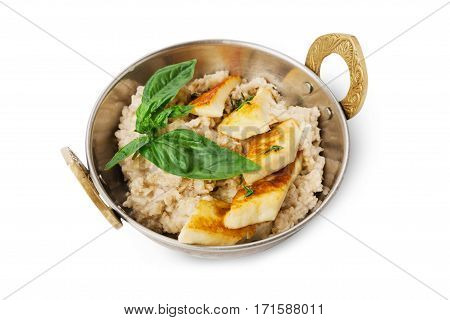 Vegan and vegetarian dish, oatmeal porridge and omelette isolated on white background. Indian restaurant healthy meal, eggs and cereal