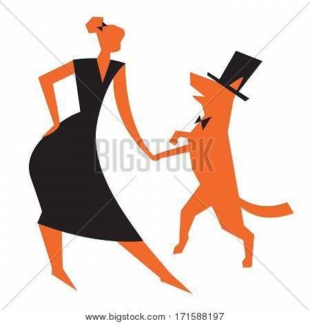 Icon with girl and dog. Vector illustration with dancing woman and cute dog. Pictogram for cynological sports and activity as heelwork to music freestyle dog training tricks obedience. Simply design element