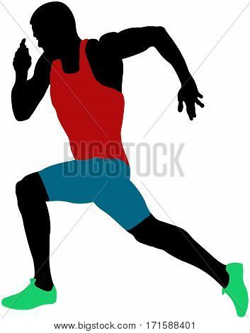 muscular sprinter athlete runner sprinting colored silhouette
