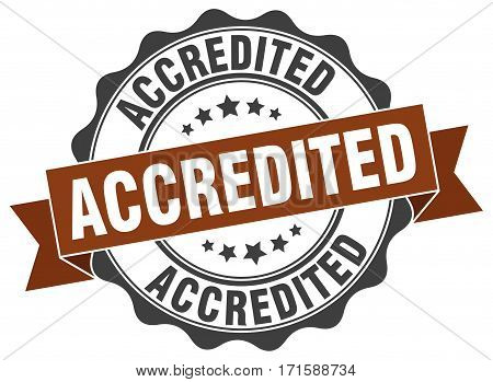 accredited. stamp. sign. seal. round. retro. ribbon