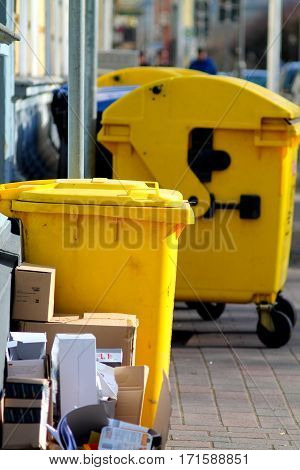 Yellow dustbins. Plastik waste separation. Recycling in Germany