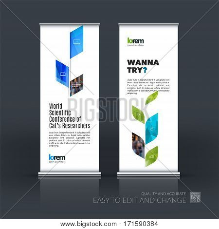 Business vector set of modern roll Up Banner stand design template with blue abstract plant for business, industry, eco for exhibition, show, exposition, expo, presentation, parade, events.