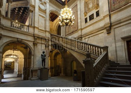 Barcelona Spain - January 08 2017: The interior of the room in a public section of city hall that is opened for people visiting every Sunday