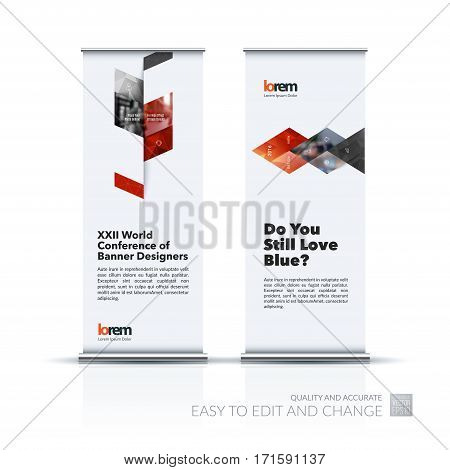 Business vector set of modern roll Up Banner stand design template with red abstract plant for business, industry, eco for exhibition, show, exposition, expo, presentation, parade, events.