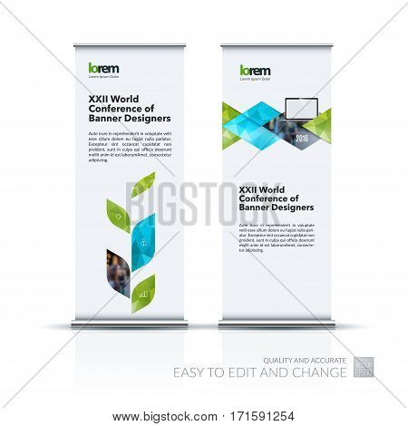 Business vector set of modern roll Up Banner stand design template with green abstract plant for business, industry, eco for exhibition, show, exposition, expo, presentation, parade, events.