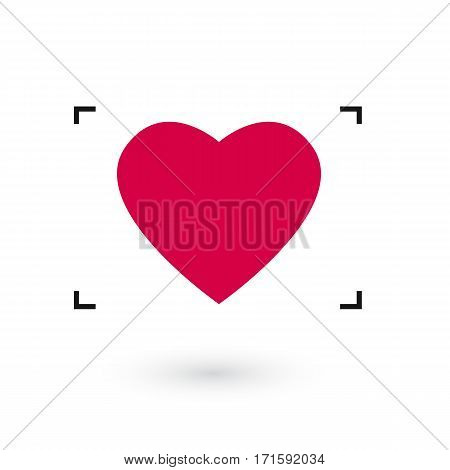 heart icon at the gunpoint with black frame.