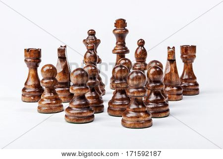 Chess. Black figures on white background. Set of black figures. Background for presentation.
