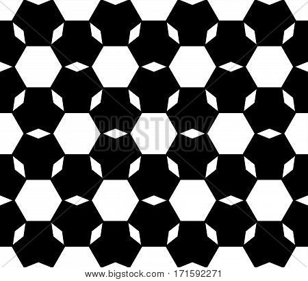 Vector monochrome seamless pattern, repeat ornamental background, angled geometric tiles. Abstract black & white endless backdrop. Illustration of football ball texture. Design for prints, decoration, textile, furniture
