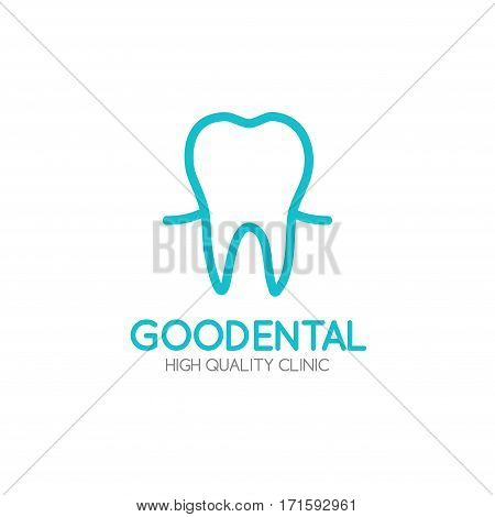 Healthy tooth Logo design vector template in linear style.