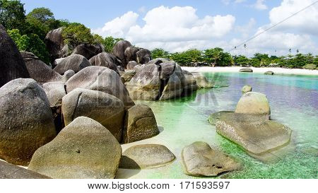Natural rock formation at the beach in Belitung Island, Indonesia.