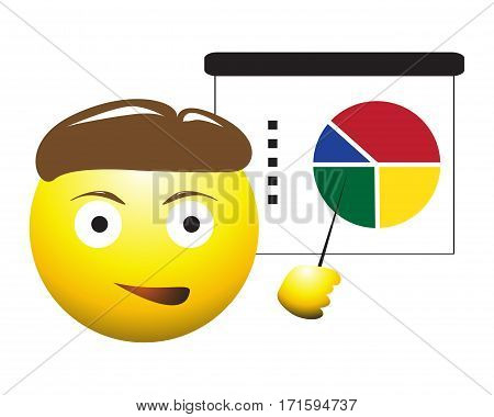Pie Chart Business Man Emoticon