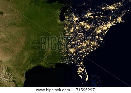 City Lights On World Map. North America.