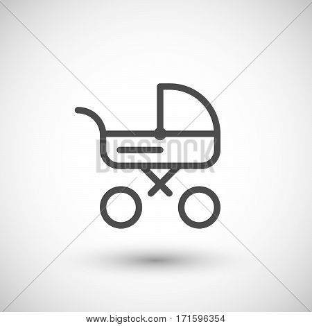 Baby carriage line icon isolated on grey. Vector illustration