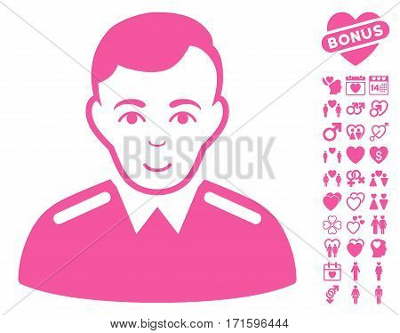 Officer pictograph with bonus dating pictures. Vector illustration style is flat iconic pink symbols on white background.