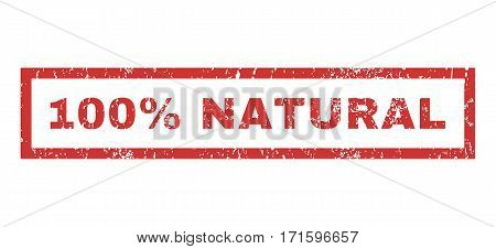 100 Percent Natural text rubber seal stamp watermark. Tag inside rectangular shape with grunge design and dust texture. Horizontal vector red ink emblem on a white background.